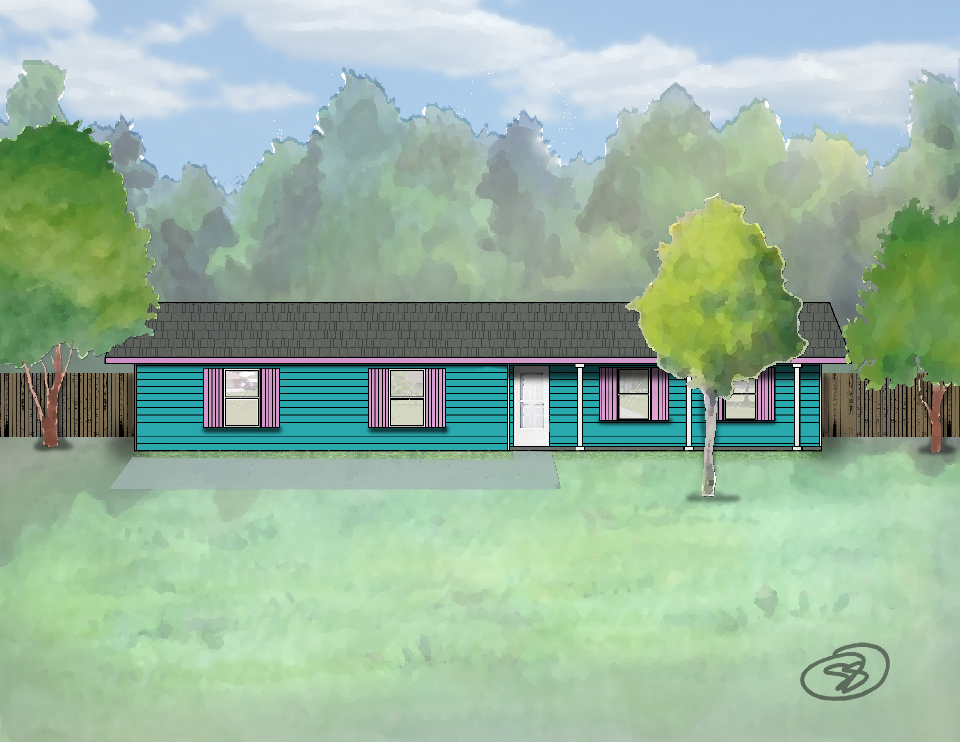 Teal & Pink House