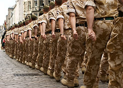 A column of British soldiers on a homeco