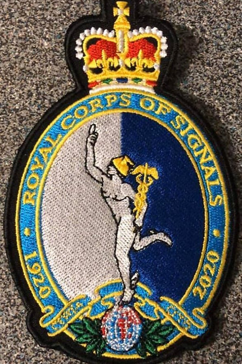 LARGE Royal Signal centenary patch, blue and white. LARGE