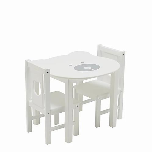 Conjunto Mesa + 2 Cadeiras Ursinho em Madeira Faia