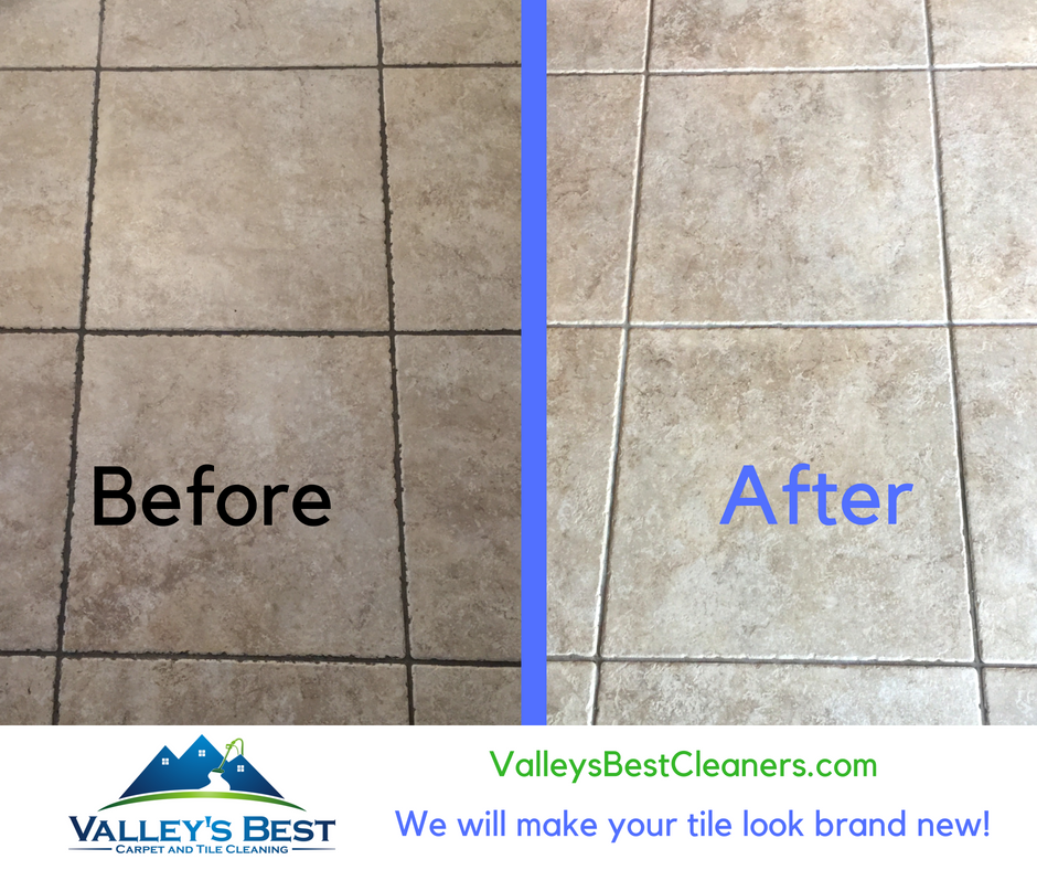 Before and After pictures of tile cleaning