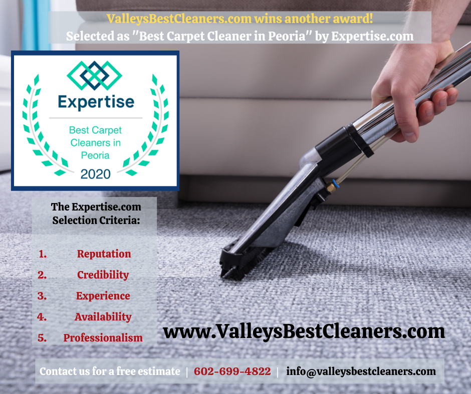 "Valley's Best Cleaners was awarded the ""Best Carpet Cleaner in Peoria"" award"