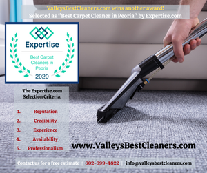 """Valley's Best Cleaners was awarded the """"Best Carpet Cleaner in Peoria"""" award"""