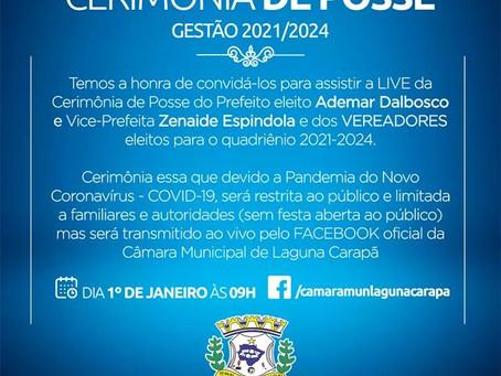 Câmara Municipal de  Laguna convida população para assistir live da cerimônia de posse