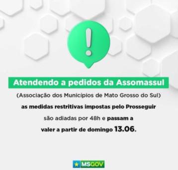 A pedido da Assomasul, Governo do MS adia medidas mais restritivas contra pandemia para domingo