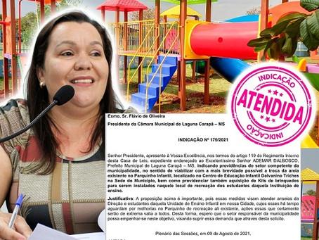 Vereadora Alessandra Ribas agradece aquisição de parquinho para o CEI