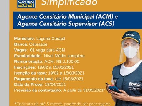 IBGE abre mais de 2.800 vagas temporárias em MS para o Censo 2021, Laguna tem 8 vagas.