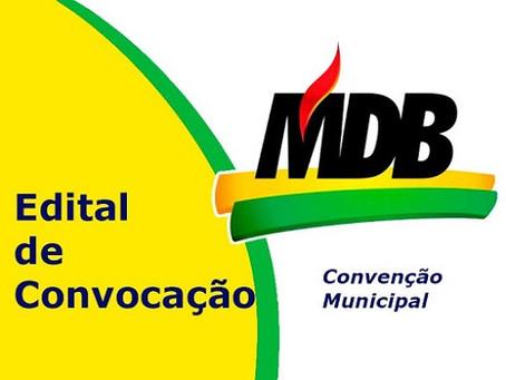 MDB convoca filiados para convenção em Laguna Carapã