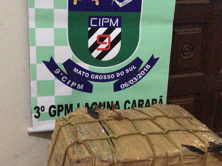 Polícia Militar de Laguna Carapã localiza 46 quilos de maconha