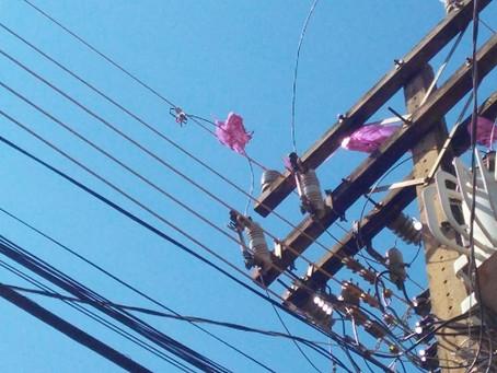 Energisa alerta sobre acidentes com pipa na rede elétrica