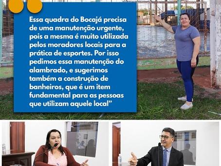 Vereadora Alessandra Ribas pede manutenção na quadra de esportes do Bocajá