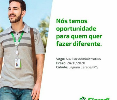 Sicredi oferece vaga de auxiliar administrativo para agência de Laguna Carapã