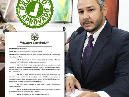 Câmara aprova Projeto de Lei que institui Semana da Pátria em Laguna Carapã