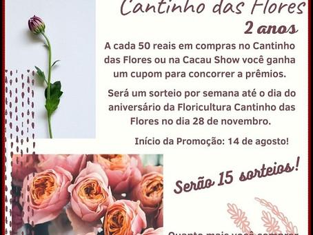 Floricultura Cantinho das Flores lança promoção de aniversário