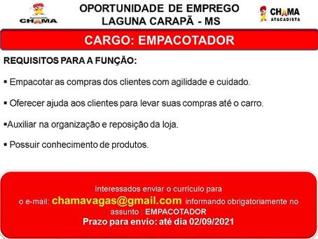 Oportunidade de emprego: Supermercado Chama contrata empacotador em Laguna Carapã