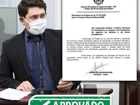 Projeto de Flávio de Oliveira que garante políticas de atendimento a autistas é aprovado em Laguna