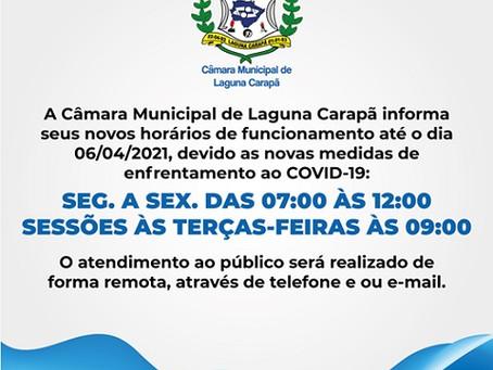 Câmara de Laguna Carapã informa horário de atendimento e das sessões, até dia 06 de abril