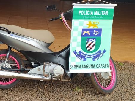 Polícia Militar de Laguna Carapã recupera moto roubada