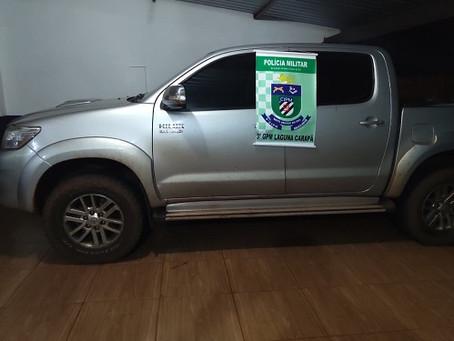Polícia Militar de Laguna Carapã recupera veículo roubado em Dourados