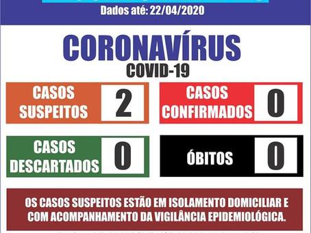 Boletim informativo da Secretaria de saúde informa 2 casos suspeitos de Coronavírus em Laguna Carapã