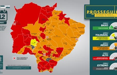 PROSSEGUIR: Laguna Carapã e 31 municípios estão na bandeira vermelha e 44 na laranja