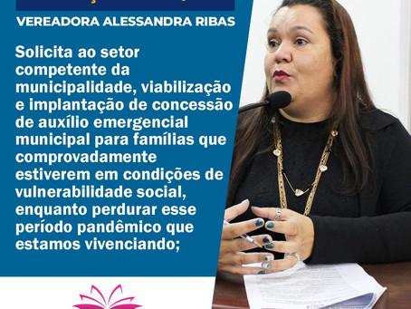 Alessandra Ribas apresenta Indicação para concessão de auxílio emergencial municipal