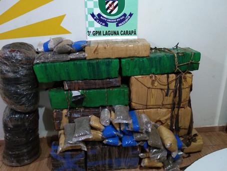 Polícia Militar de Laguna Carapã Apreende quase 500kg de entorpecentes
