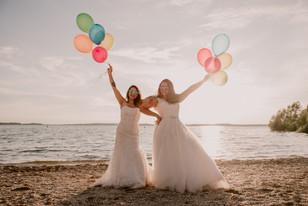 photographe,mariage,troyes,trash,dress,lac,aube,copines,coloré,ballons,fun