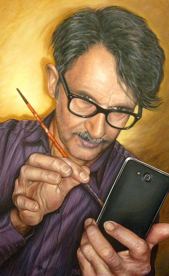 Huile sur toile - Autoportrait de l'artiste