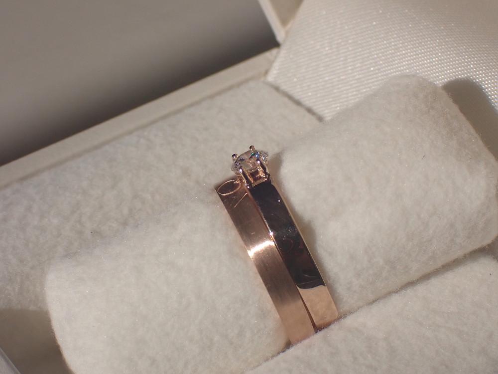 ブライダルリング 結婚指輪 婚約指輪 重ね付け ペアリング エンゲージリング マリッジリング ピンクゴールド 制作実例 山形県山形市 宝石店 ジュエリーショップ アトリエジェムカフェ