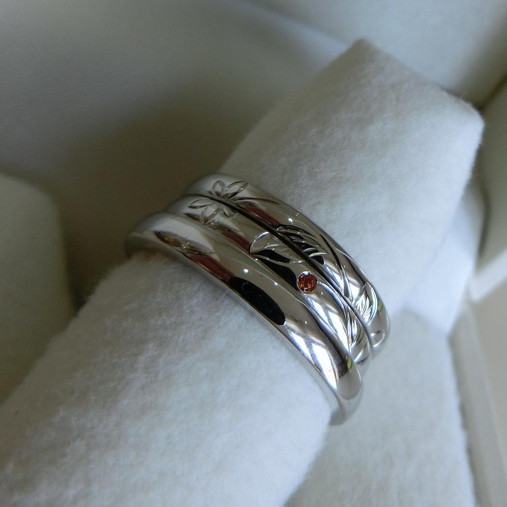結婚指輪 重ね付け オーダーメイドリング製作実例 プラチナ サファイア 山形県山形市 宝石店 ジュエリーショップ アトリエジェムカフェ