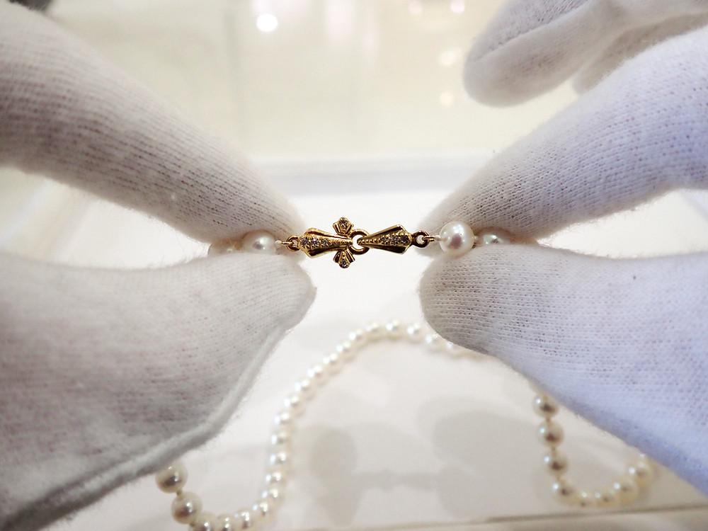 真珠 修理 アコヤ真珠 真珠ネックレス 金具交換 ジュエリーショップ 宝石店 山形県 山形市 アトリエジェムカフェ