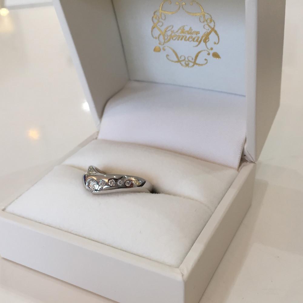 ダイヤモンド 指輪 リング 結婚指輪 婚約指輪 マリッジリング エンゲージリング ジュエリーリフォーム プラチナ 宝石店 ジュエリーショップ アトリエジェムカフェ 山形県 山形市