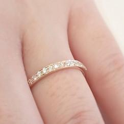 結婚指輪製作実例 オーダーメイドリング ピンクゴールド ハーフエタニティリング 山形県山形市 宝石店 ジュエリーショップ アトリエジェムカフェ