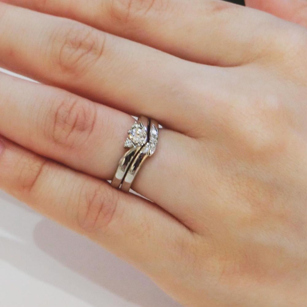 結婚指輪 婚約指輪 重ね付け オーダーメイドリング 制作実例 マリッジリング エンゲージリング ダイヤモンド 山形県山形市 宝石店 ジュエリーショップ アトリエジェムカフェ