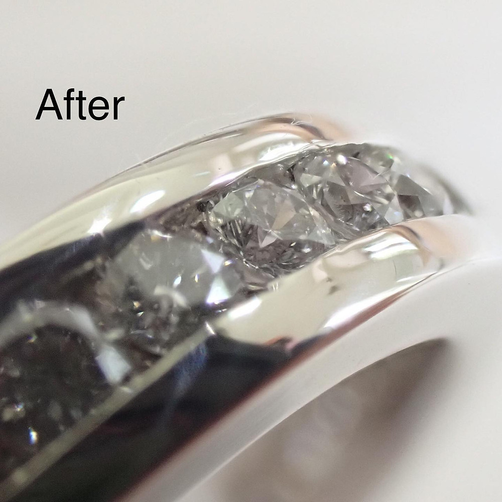 指輪の新品仕上げ リング磨き直し フルエタニティリング修理 ダイヤモンド交換 ジュエリーリフォーム 山形県山形市 宝石店 ジュエリーショップ アトリエジェムカフェ