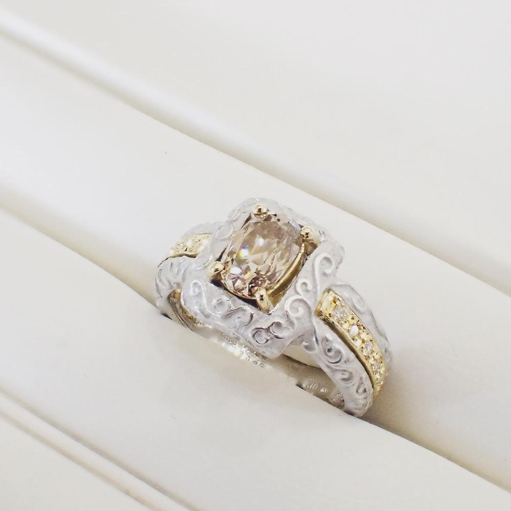 角江千代治 唐草模様指輪 デザインリング コンビリング オーダーメイドリング ダイヤモンドの指輪 山形県山形市 宝石店 ジュエリーショップ アトリエジェムカフェ