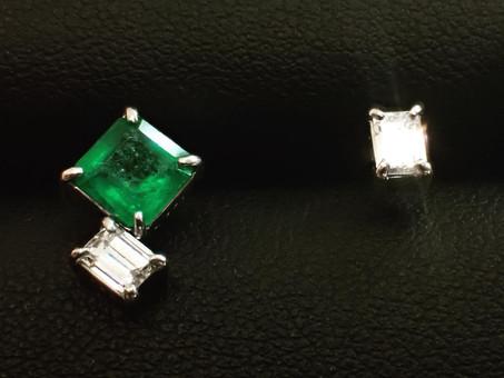 【ジュエリーリフォーム製作実例】エメラルドとダイヤモンドの指輪をピアスにリフォーム致しました。