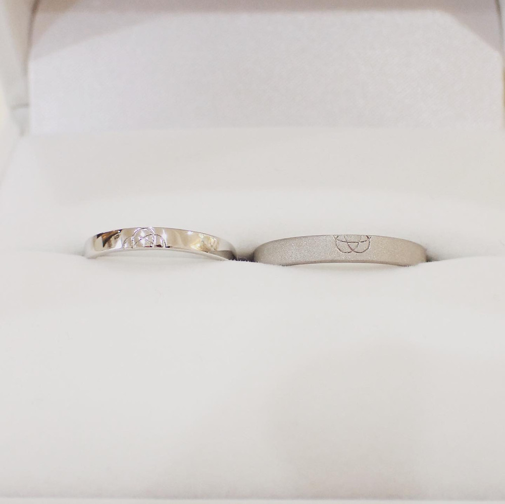 オーダーメイド結婚指輪実例 ブライダルリング製作実例 プラチナ 重ね付けリング 山形県山形市 宝石店 ジュエリーショップ アトリエジェムカフェ