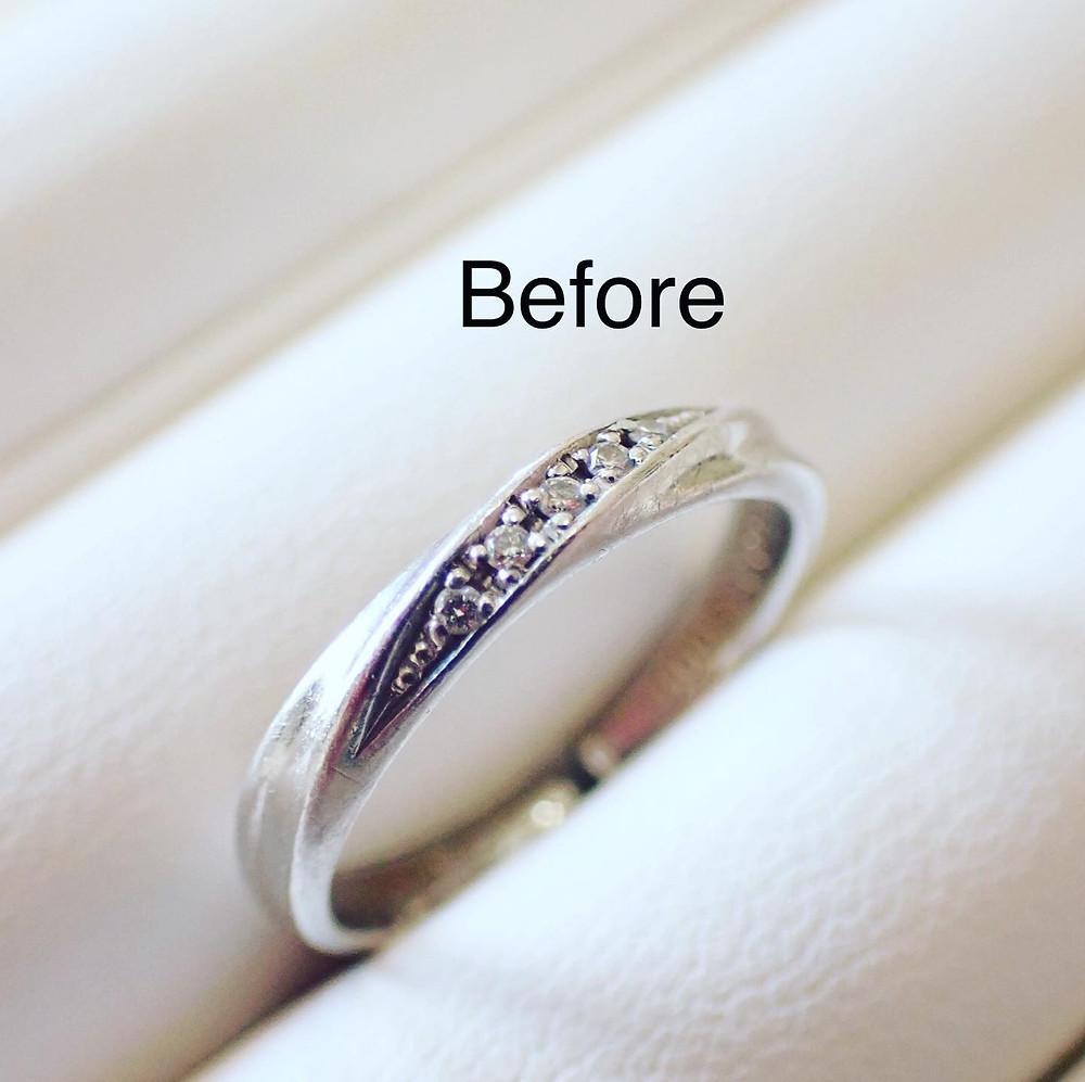 結婚指輪の新品仕上げ 磨き直し ダイヤモンドリング ブライダルリング 薬指の指輪 マリッジリング 山形県山形市の宝石店 ジュエリーショップ アトリエジェムカフェ