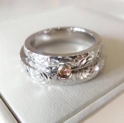 結婚指輪 マリッジリング プラチナ コンビリング ピンクダイヤモンド 宝石店 ジュエリーショップ アトリエジェムカフェ 山形県山形市