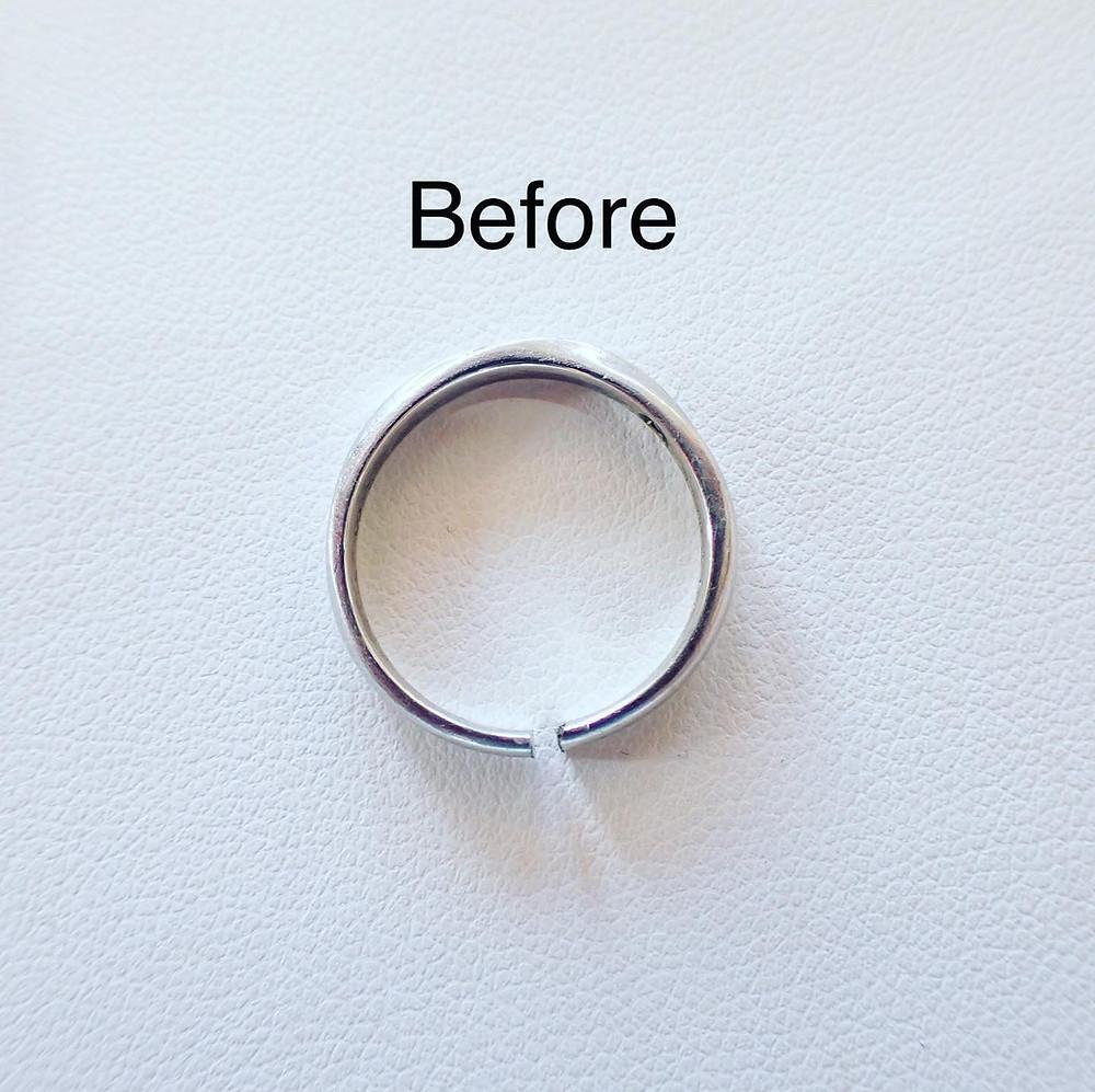 リングカッターで切断した結婚指輪 指輪の修理 リングのサイズ直し マリッジリング ダイヤモンドリング 山形県山形市のジュエリーショップ 宝石店 アトリエジェムカフェ