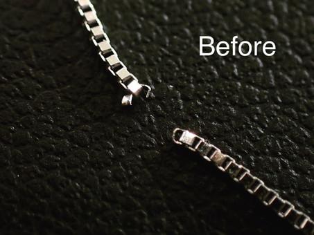 【ネックレスチェーン修理実例】切れてしまったプラチナネックレスを修理致しました。