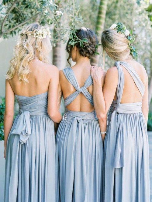 Grey Blue Bridesmaids Dresses