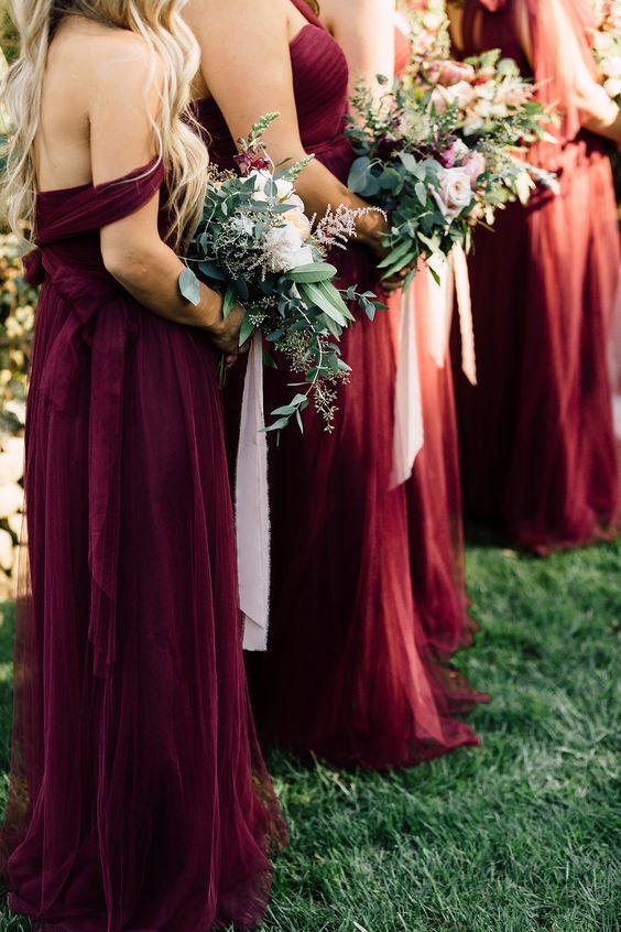 Wine coloured Bridesmaids dresses