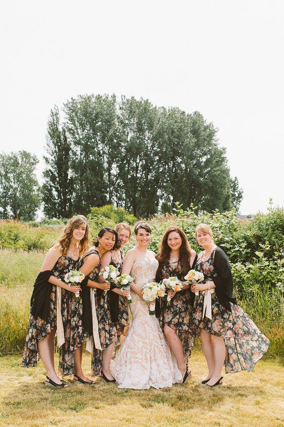 Dark Floral Bridesmaids Dresses