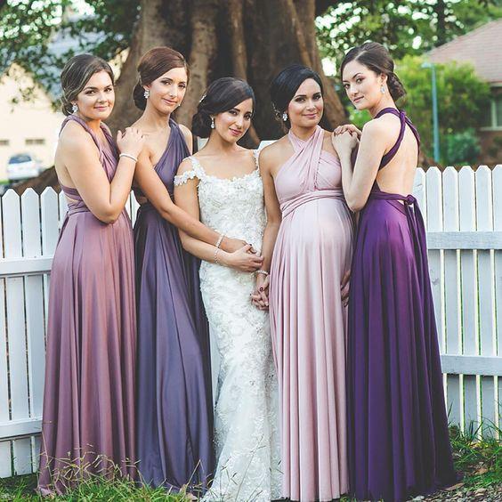 Ombre Purple Bridesmaids Dresses