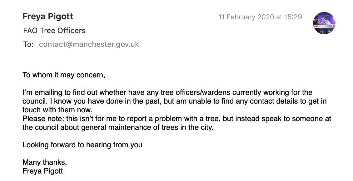 screenshot of email to Manchester City Council (proposal video link below)