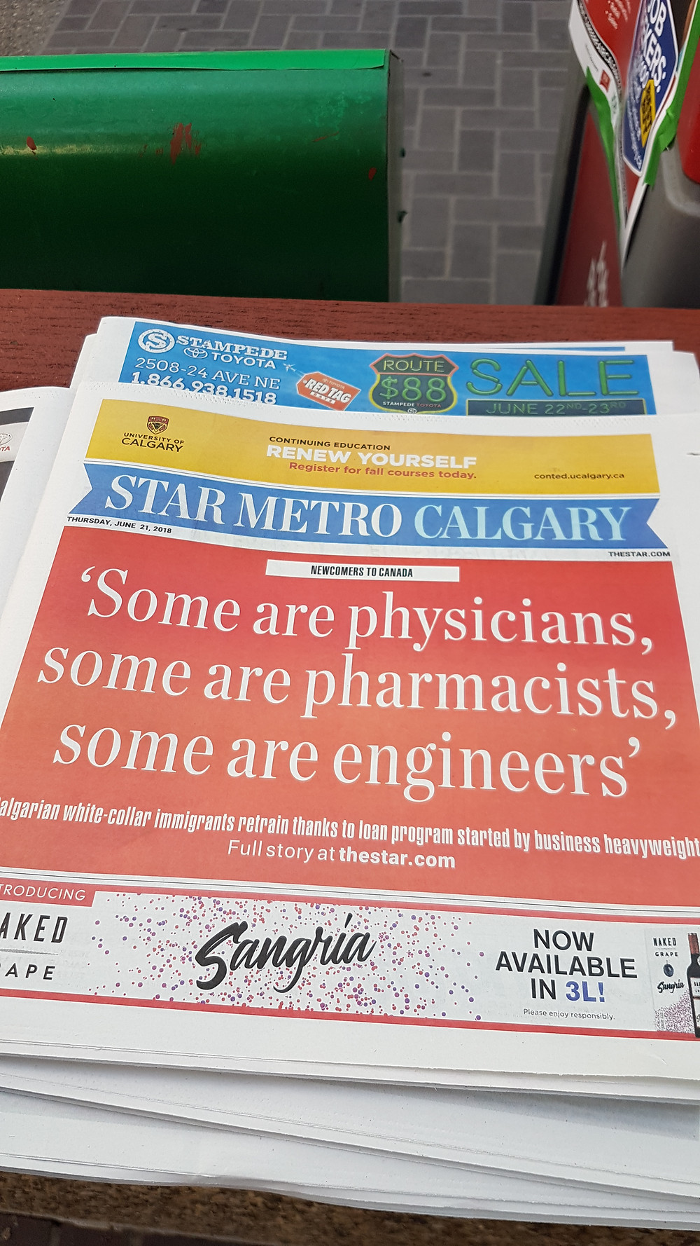 Front page of The Star Metro Calgary on June 21, 2018