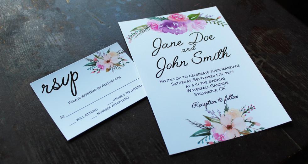 Pink + Purple Flowers Invitation
